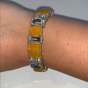 J. Crew Stretchy Gem Bracelet in Mustard Yellow